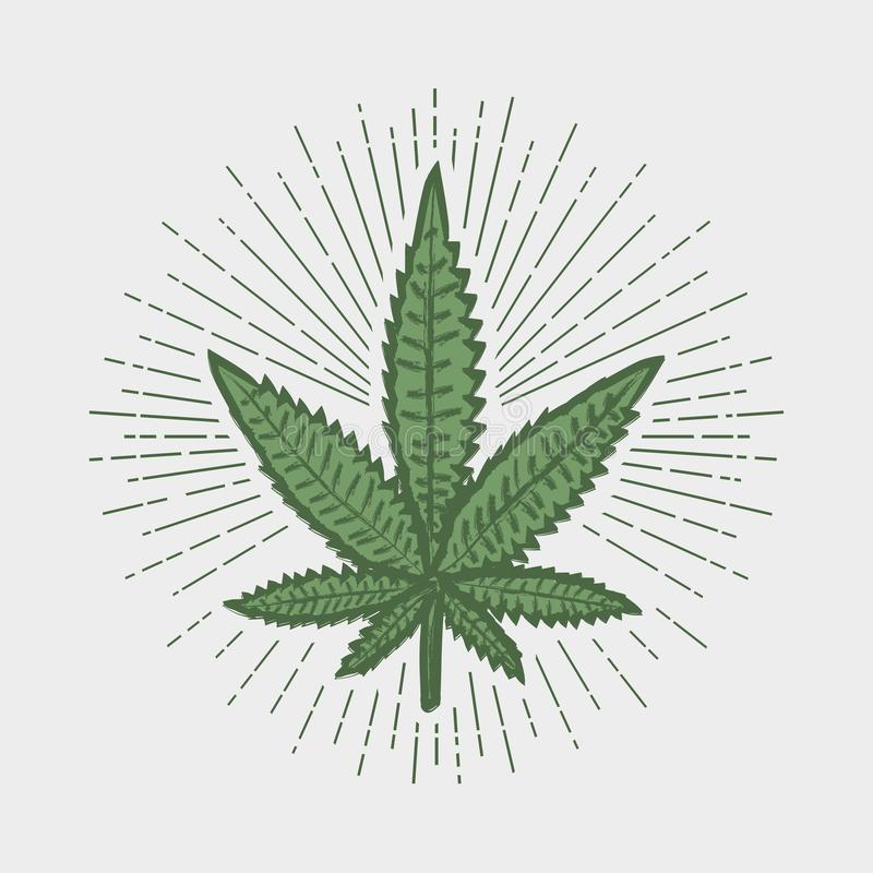 Copie de feuille de cannabis Timbre de marijuana avec le rayon de soleil Illustration de vecteur illustration libre de droits
