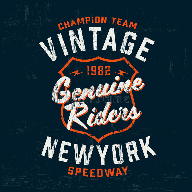 Copie de logo de marque de moteur de vintage de typographie pour le T-shirt Rétro illustration de vecteur d'illustration illustration stock