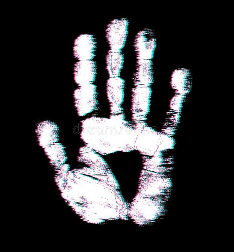 Copie de main d'humain Modèle mignon de texture de peau Style tordu de problème Illustration de vecteur Conception de lueur pour  illustration stock