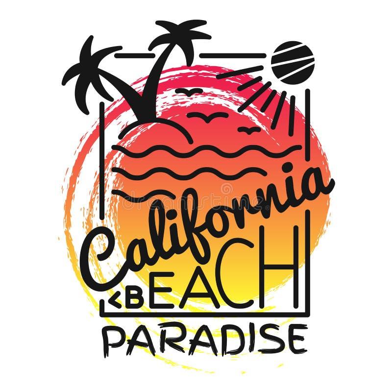 Copie de paradis de plage de la Californie pour le T-shirt Dirigez l'illustration sur le thème du ressac et de surfer Slogan de m illustration libre de droits