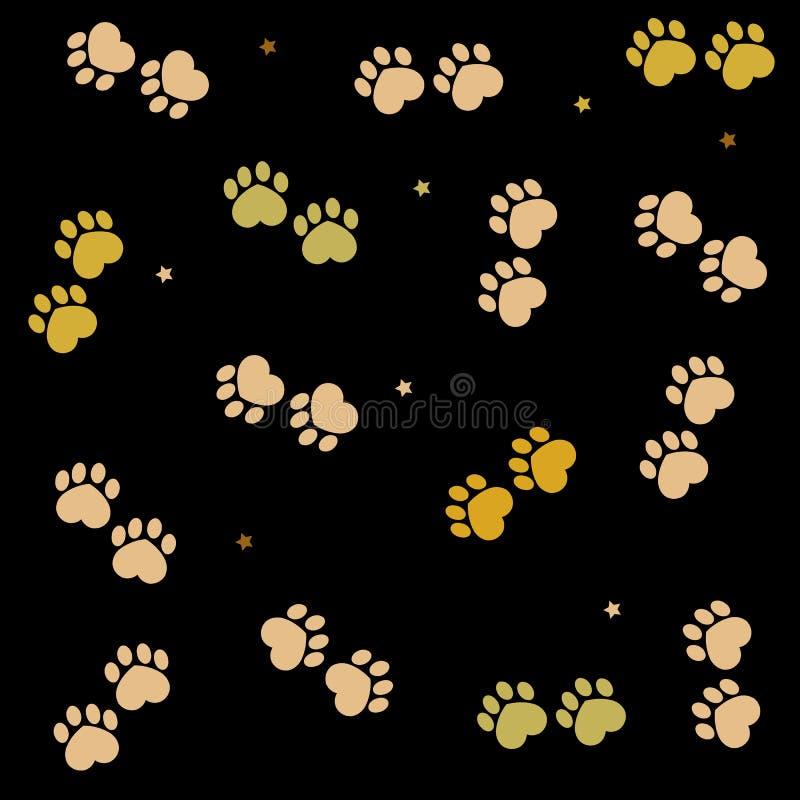 Copie de patte faite de coeurs faits de couleurs d'or Fond de noir de jour du ` s de Valentine illustration stock