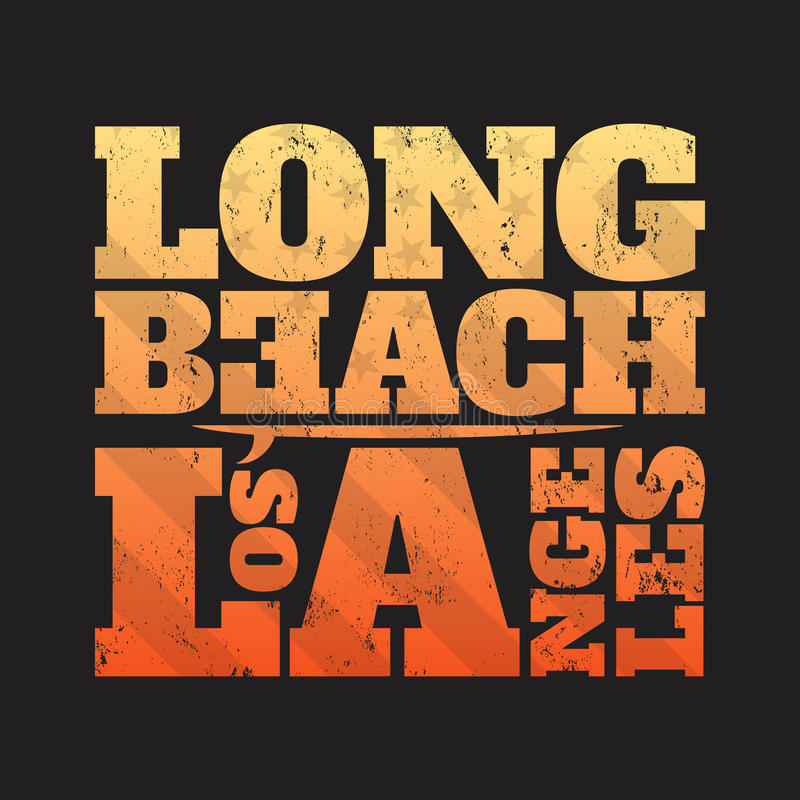 Copie de pièce en t de Long Beach avec la planche de surf illustration de vecteur