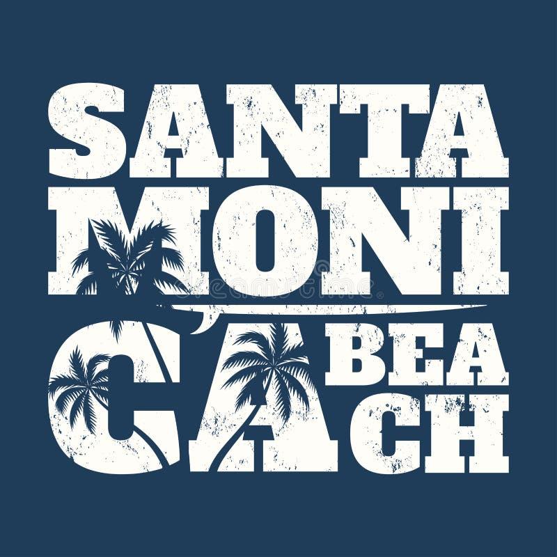 Copie de pièce en t de Santa Monica avec la planche de surf et les paumes illustration de vecteur