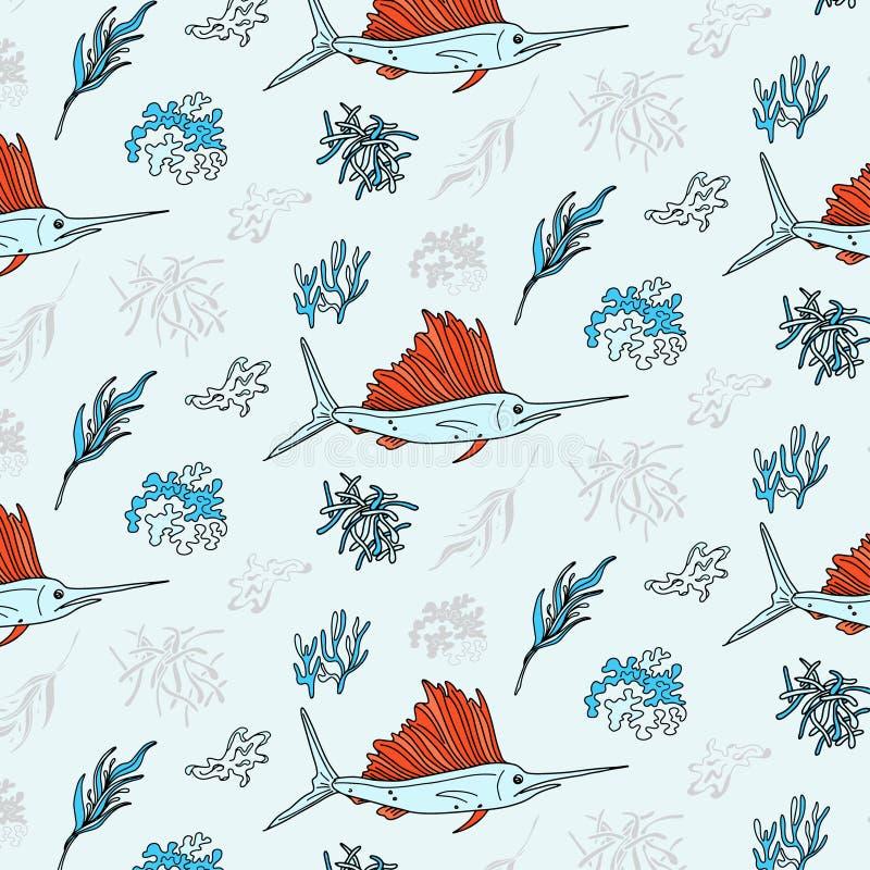 Copie de textile de contraste d'espadons et d'algue Modèle sous-marin de la vie de vecteur Éléments d'usines et de poissons d'Oce illustration stock