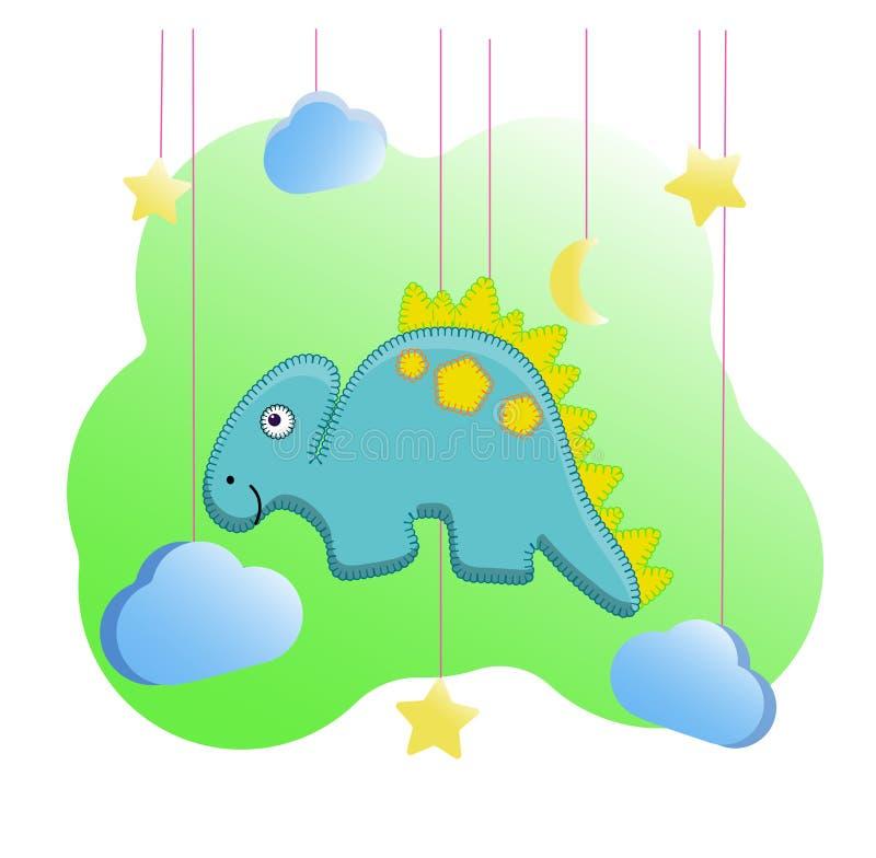 Copie drôle de Dino dans le style des jouets de feutre pour la crèche Illustration de vecteur d'un dinosaure, lune, étoiles, n illustration stock