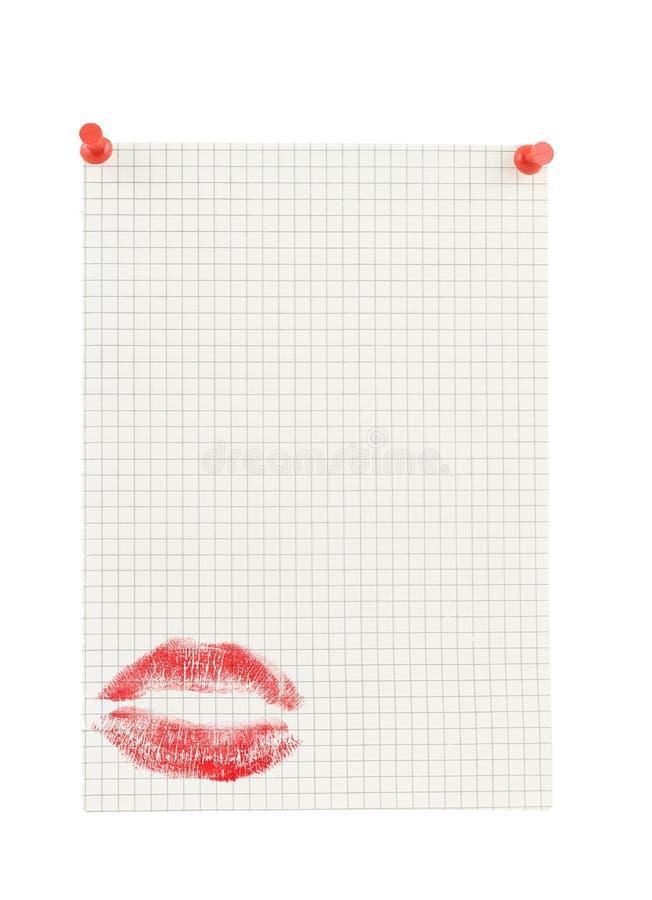 Copie el espacio para el mensaje del amor en pedazo de papel ajustado imágenes de archivo libres de regalías