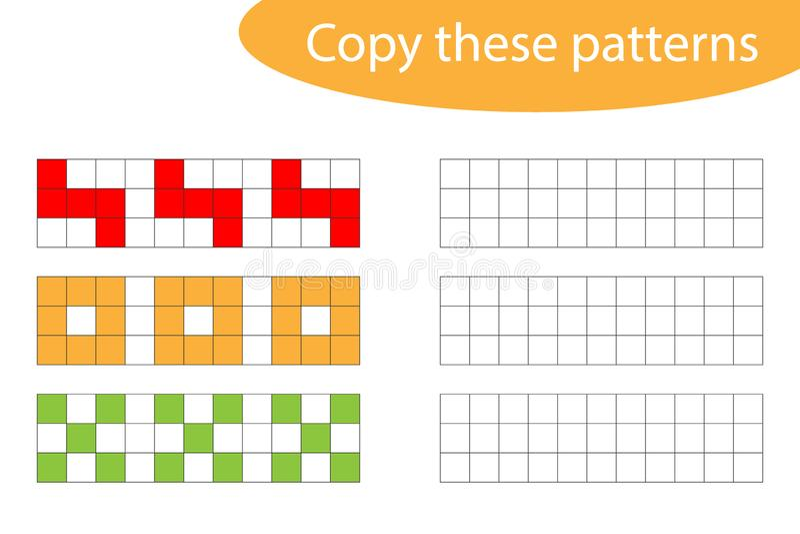 Copie estes testes padr?es, arte do pixel, treinamento de habilidades de tiragem, jogo de papel educacional para o desenvolviment ilustração do vetor