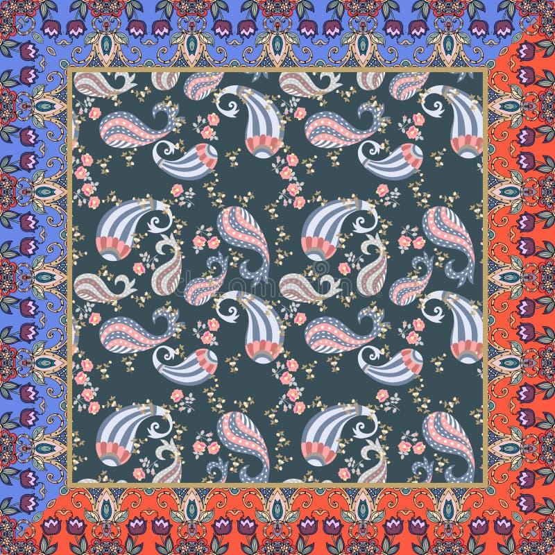 Copie ethnique de bandana avec le modèle floral routinier de Paisley et cadre peu commun avec des fleurs de tulipes Conception d' illustration stock