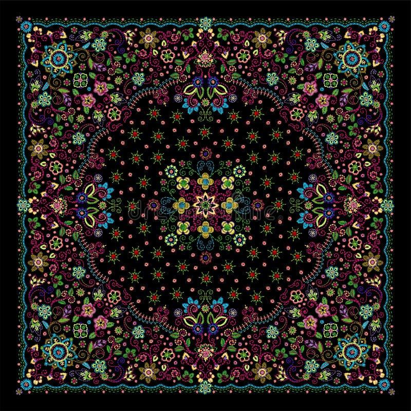Copie florale de Bandana de broderie d'ornement de vecteur, ?charpe de cou en soie ou style carr? de conception de mod?le de foul illustration stock