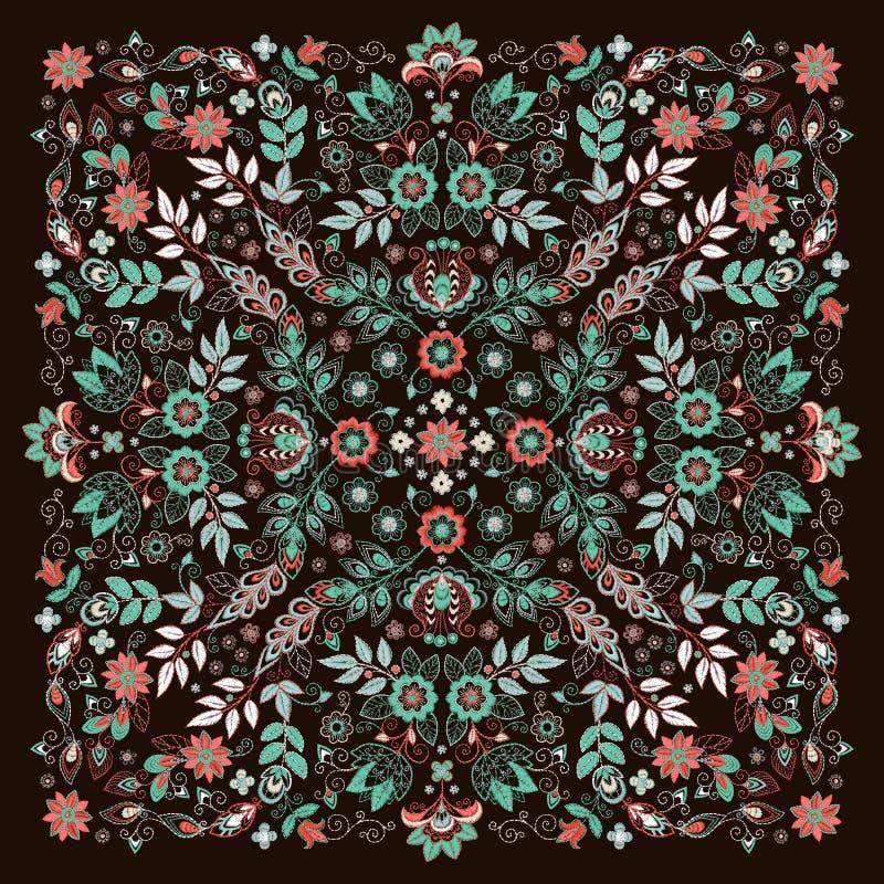 Copie florale de Bandana de broderie d'ornement de vecteur, ?charpe de cou en soie ou style carr? de conception de mod?le de foul illustration libre de droits