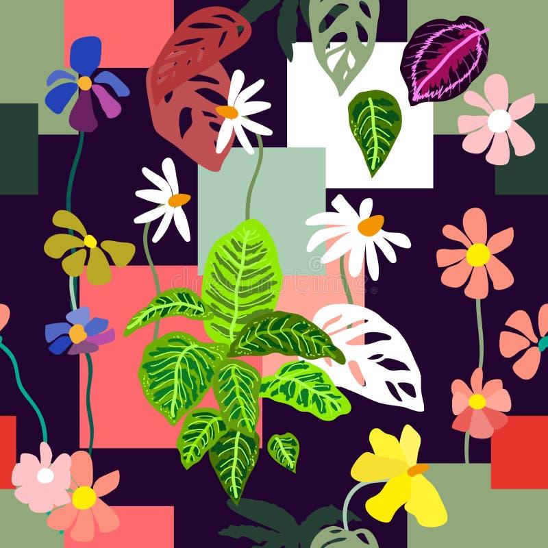 Copie géométrique avec des motifs botaniques illustration stock
