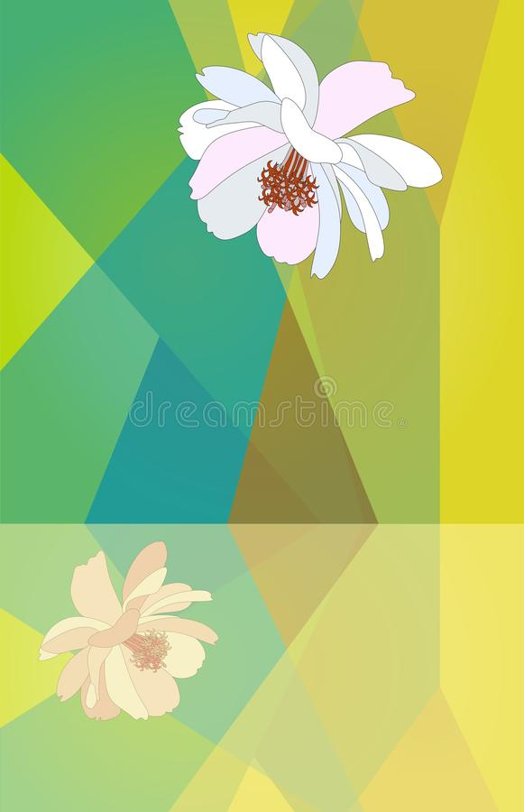 Copie géométrique verticale dans des tons verts avec deux fleurs douces de cosmos Carte de salutation ou d'invitation illustration de vecteur