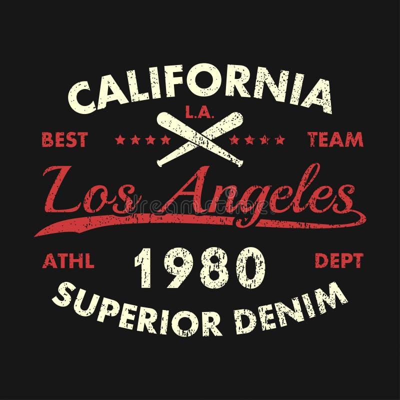 Copie grunge de la Californie, Los Angeles pour l'habillement avec la batte de baseball Denim supérieur Emblème de typographie po illustration de vecteur