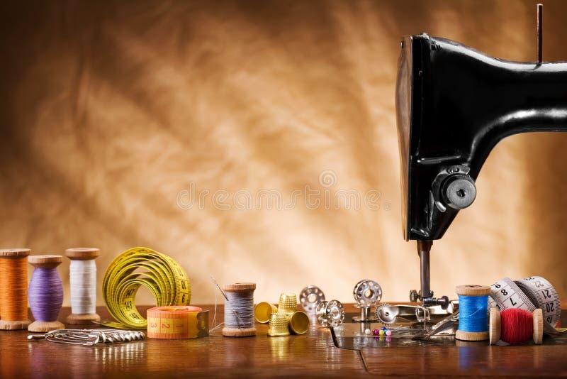 Copie a imagem do espaço de ferramentas sewing foto de stock royalty free