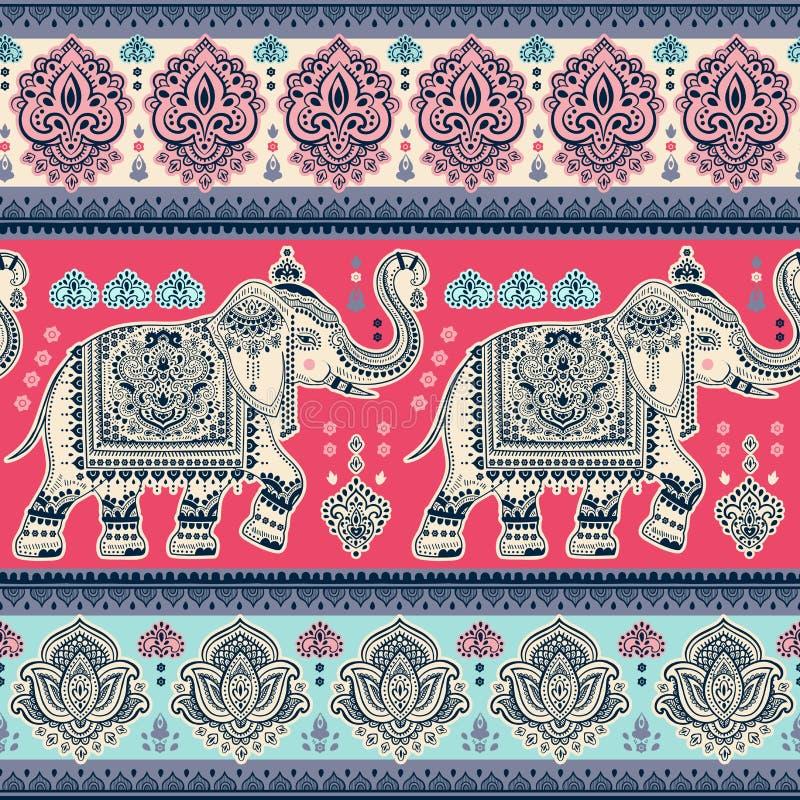 Copie indienne de Bohème de serviette de mandala Style de tatouage de henné de vintage illustration stock