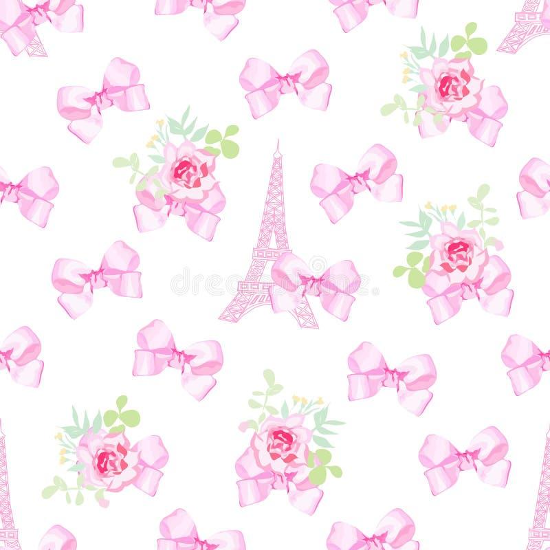 Copie inspirée par Paris mignonne Modèle sans couture avec le rose et le blanc illustration stock