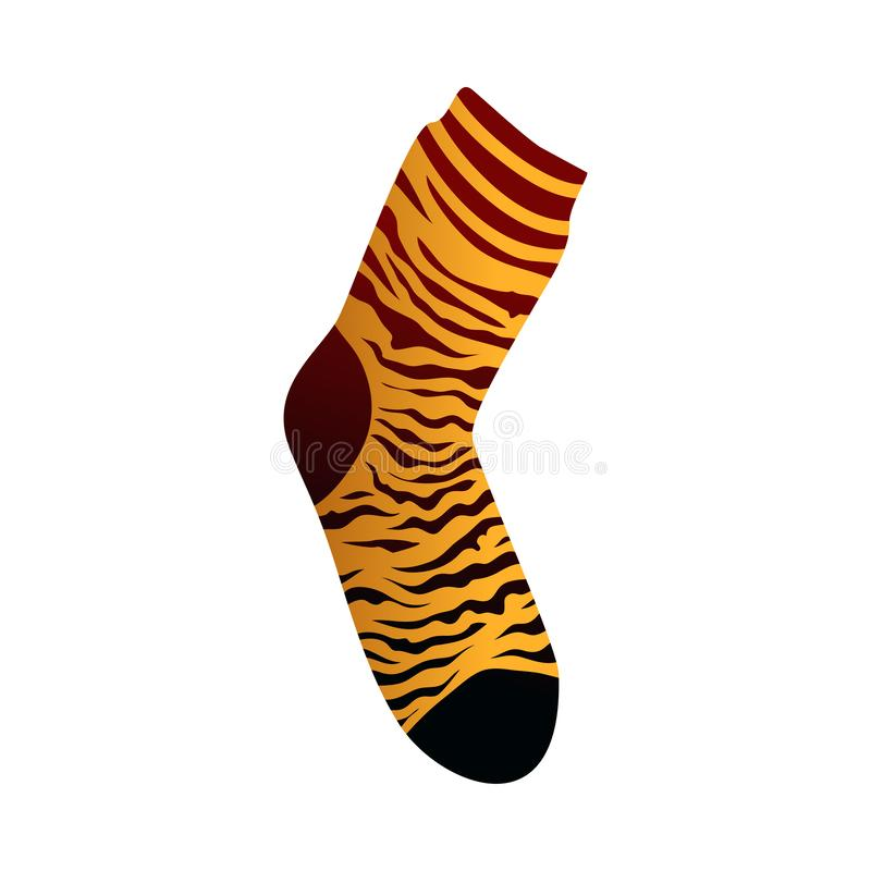 Copie jaune de tigre sur la chaussette de femmes de textile pour l'usage quotidien illustration stock