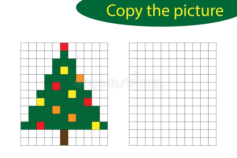 Copie la imagen, arte del pixel, historieta del árbol de navidad, formación de capacidades de dibujo, juego de papel educativo pa libre illustration