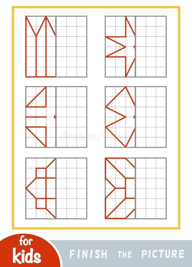 Copie la imagen, juego de la educaci?n para los ni?os Acabe la imagen por los puntos ilustración del vector