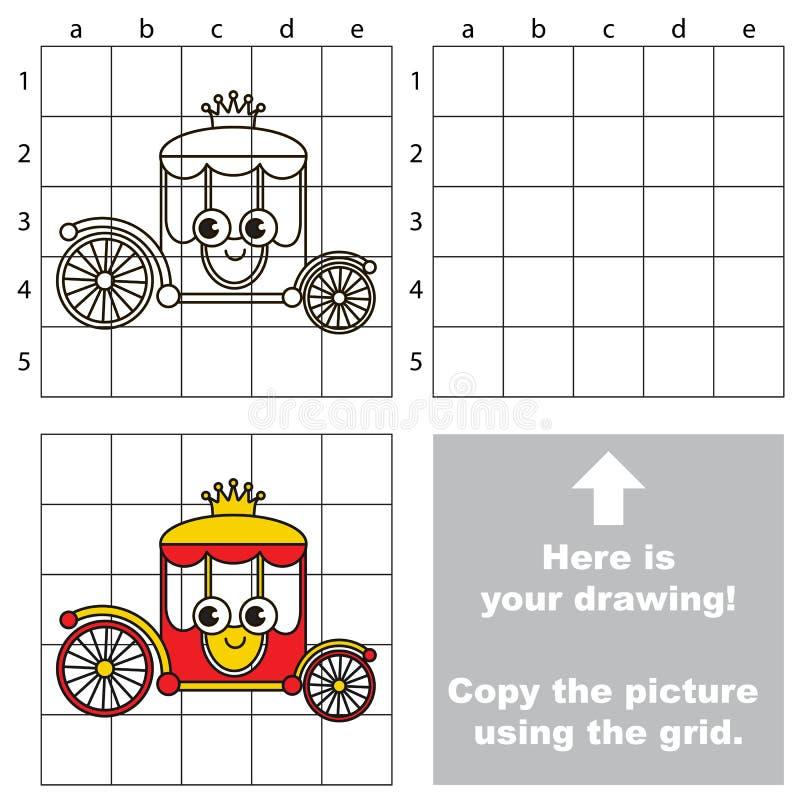 Copie la imagen usando rejilla, el juego educativo simple del niño stock de ilustración