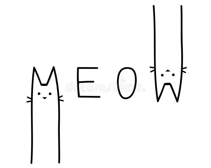 Copie mignonne avec le lettrage meow Illustration de vecteur illustration libre de droits