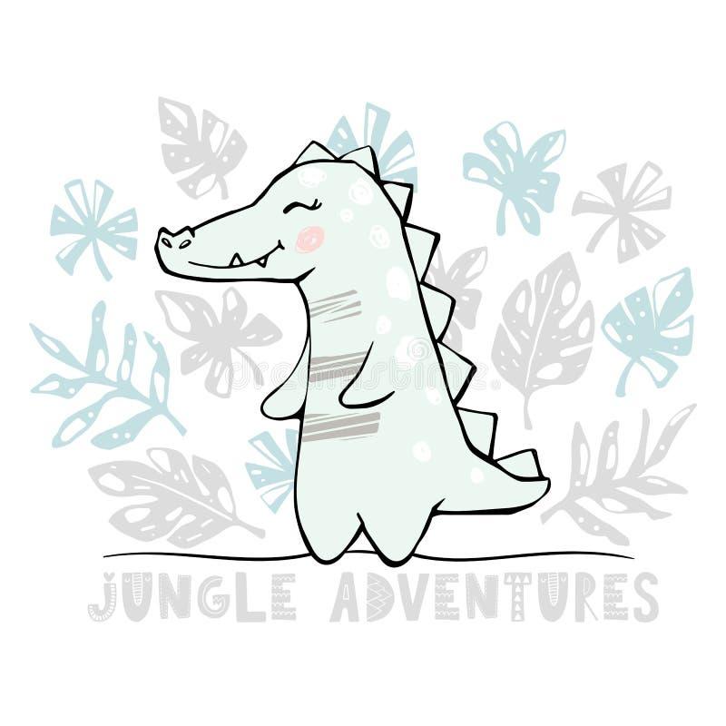 Copie mignonne de bébé de crocodile Animal africain frais illustration stock