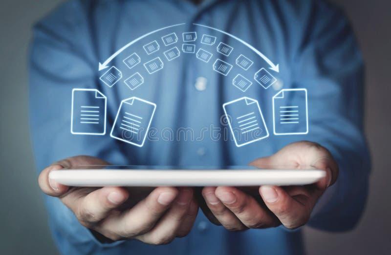 Copie os arquivos, de intercâmbio de dados Transferência de arquivos Transferência de arquivos rápida miliampère imagem de stock