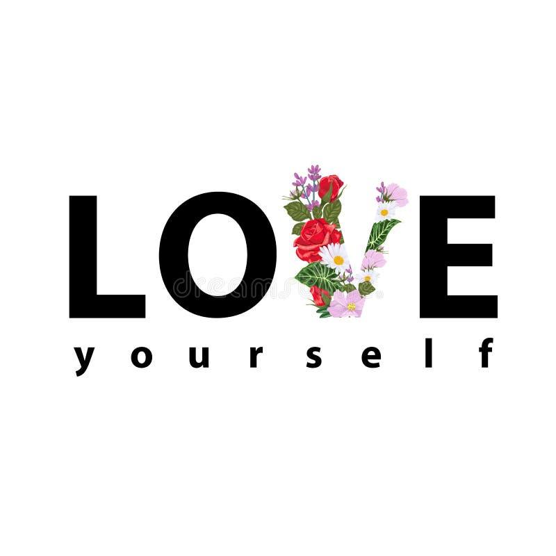 Copie pour un T-shirt avec l'amour de slogan avec la lettre V des fleurs et des feuilles illustration de vecteur