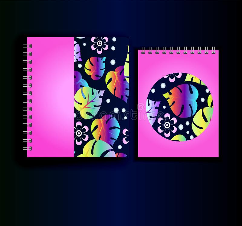 Copie rose au néon pour le planificateur et le journal intime Modèle tropical illustration stock