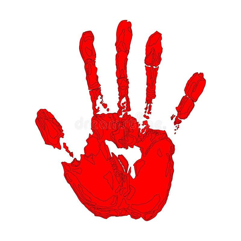 Copie rouge de main sur le fond blanc illustration libre de droits