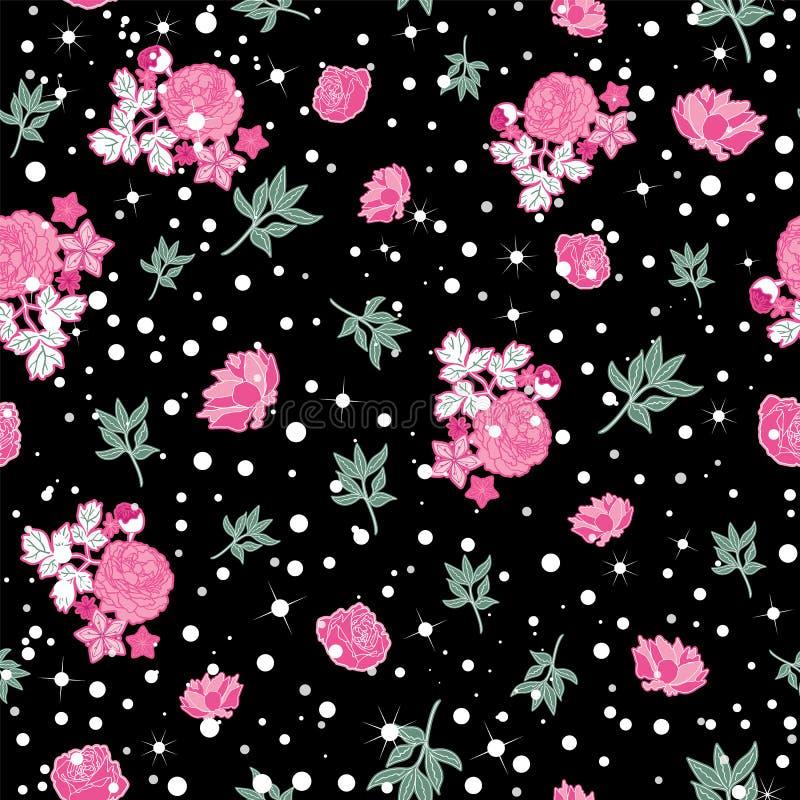 Copie sans couture anglaise florale foncée de modèle de roses et de points de polka Vecteur illustration de vecteur