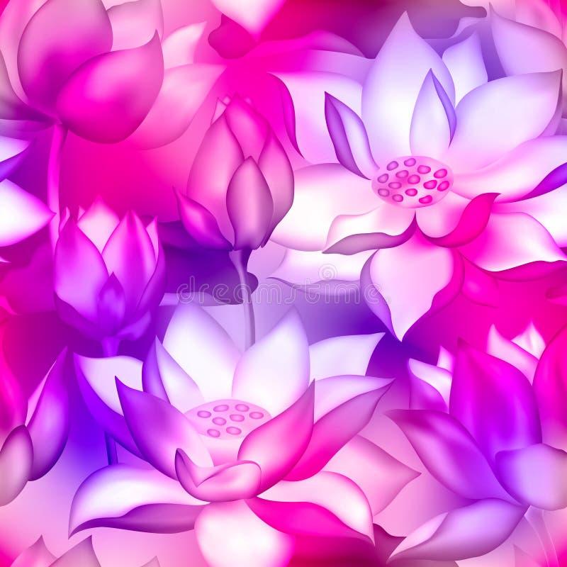 Copie sans couture de tissu de bourgeons et de fleurs de Lotus , De l'eau illustration de plante aquatique de nelumbo lilly illustration libre de droits