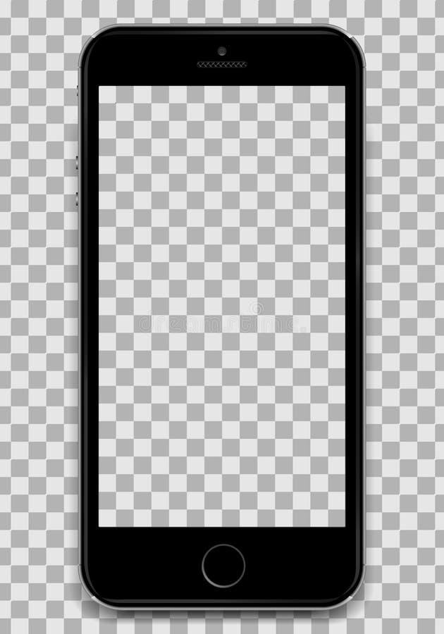 Copie Smartphone negro en el diseño del iphone 6 de Apple con una pantalla en blanco para presentar su diseño del uso A stock de ilustración