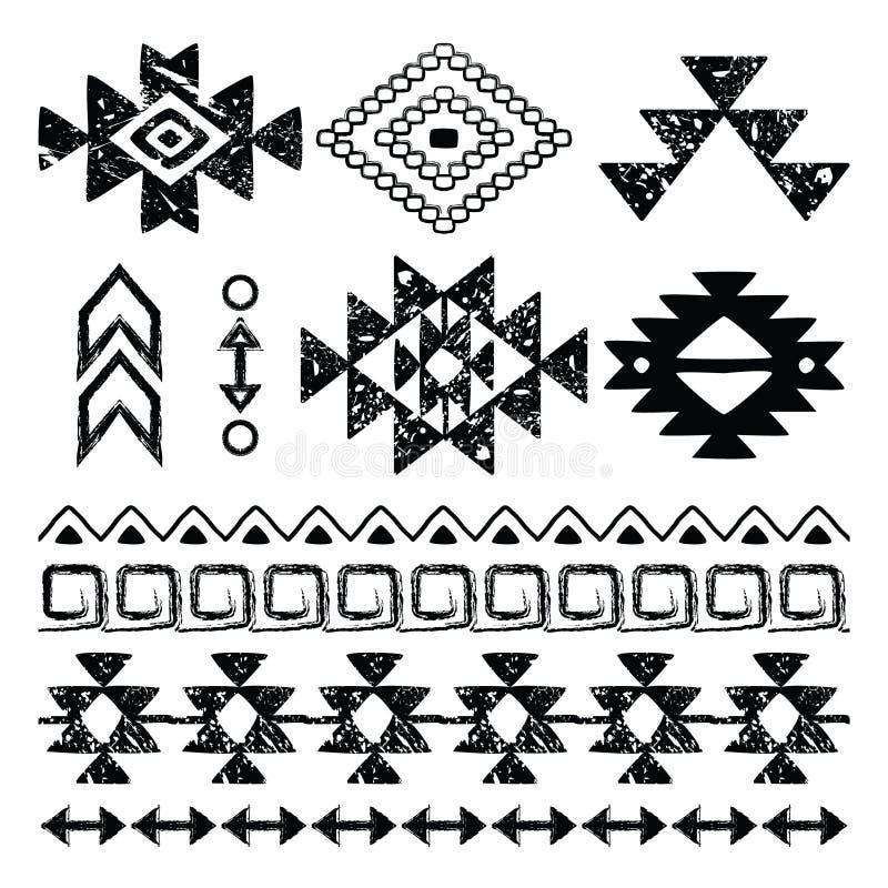 Copie tirée par la main de Navajo, rétro modèle aztèque, éléments tribals de conception avec des éraflures illustration de vecteur