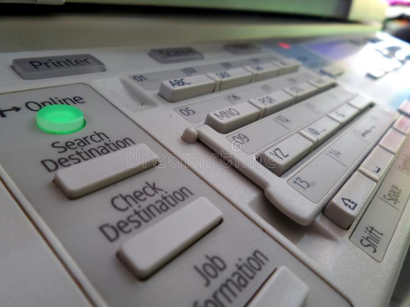 Copier control panel with descriptions. Many buttons to setting copier multifunction machine royalty free stock image