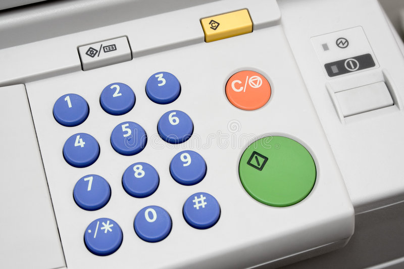 Copier User Interface. Close-up on a control panel of an office copier royalty free stock photo