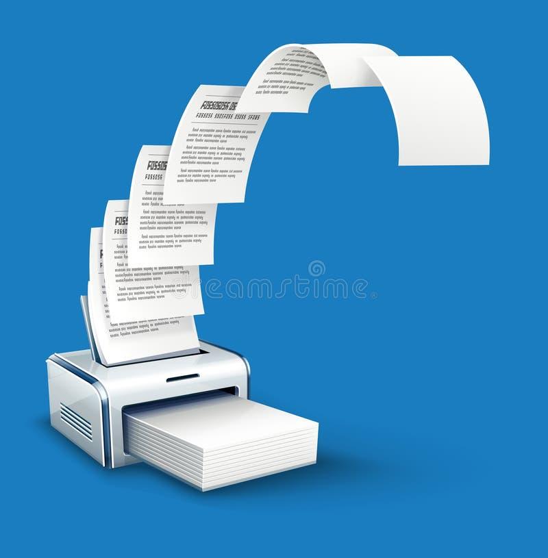 Copies d'impression d'imprimante de texte au papier avec le copyspace illustration stock