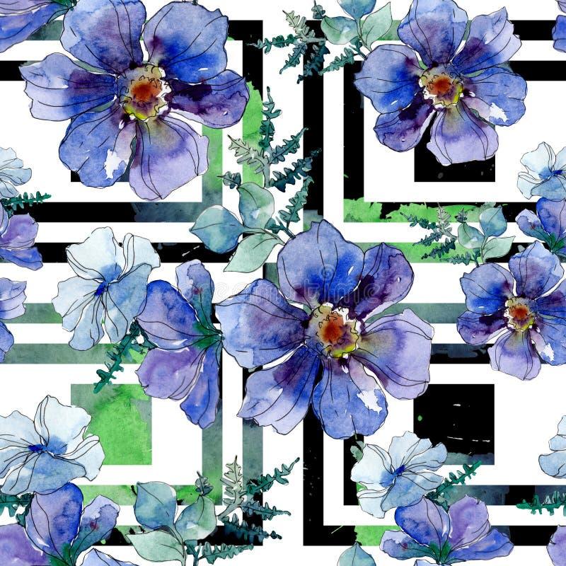 Copies de luxe de mode avec des wildflowers Ensemble d'illustration de fond d'aquarelle Mod?le sans couture de fond illustration de vecteur