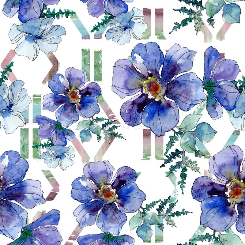 Copies de luxe de mode avec des wildflowers Ensemble d'illustration de fond d'aquarelle Mod?le sans couture de fond illustration de vecteur