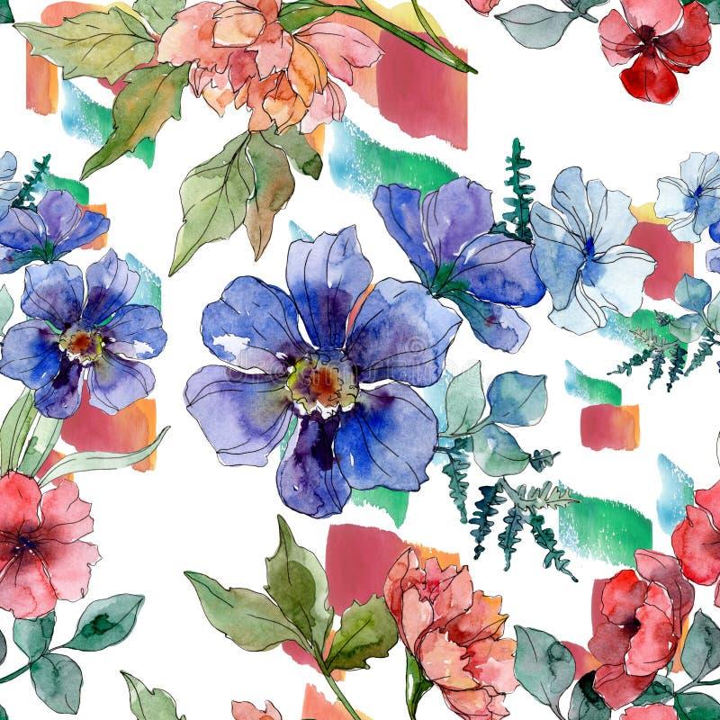 Copies de luxe de mode avec des wildflowers Ensemble d'illustration de fond d'aquarelle Mod?le sans couture de fond illustration libre de droits