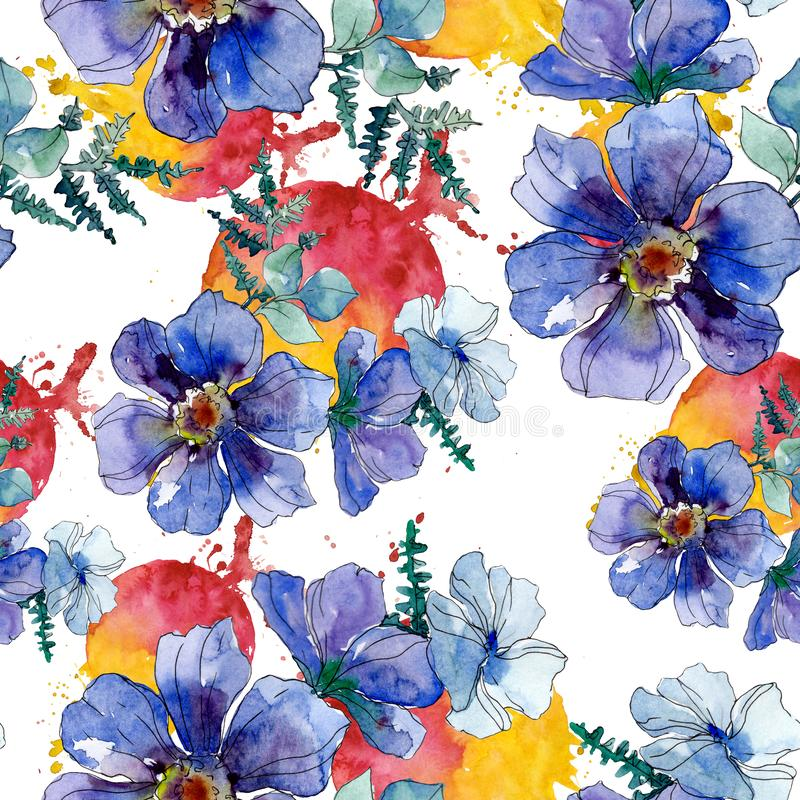 Copies de luxe de mode avec des wildflowers Ensemble d'illustration de fond d'aquarelle Mod?le sans couture de fond illustration libre de droits