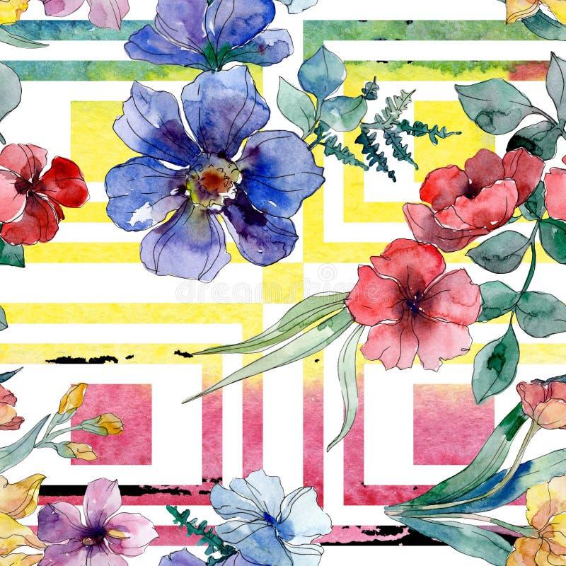 Copies de luxe de mode avec des wildflowers Ensemble d'illustration de fond d'aquarelle Mod?le sans couture de fond illustration stock