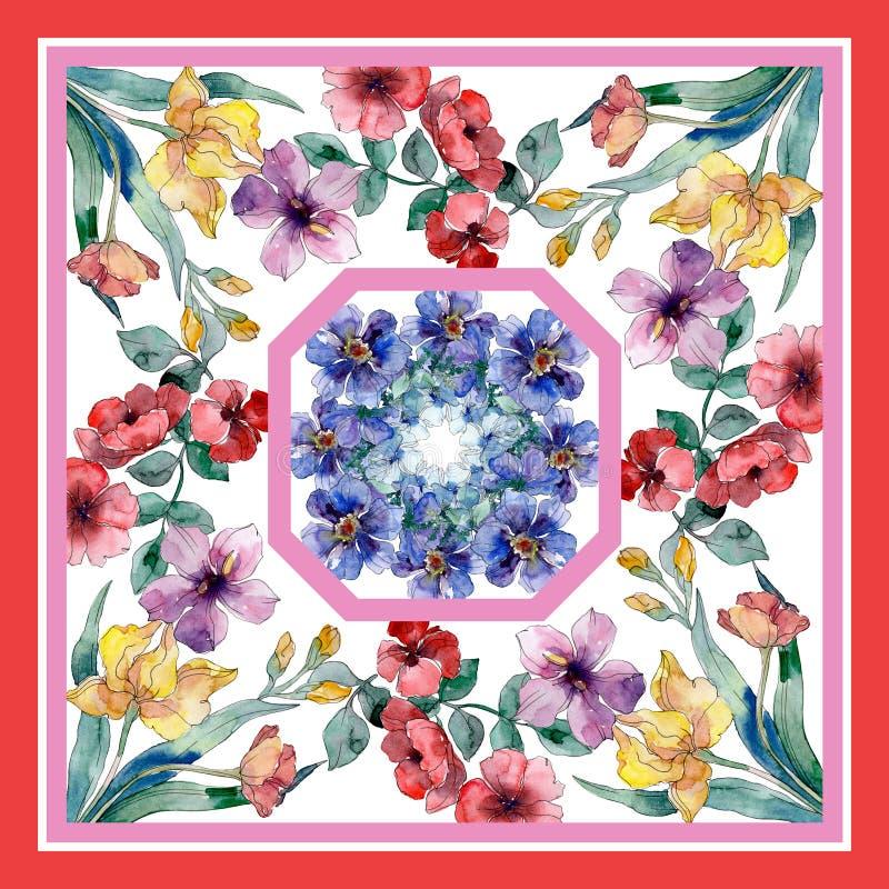 Copies de luxe de mode avec le modèle de wildflowers Ensemble d'illustration de fond d'aquarelle illustration de vecteur
