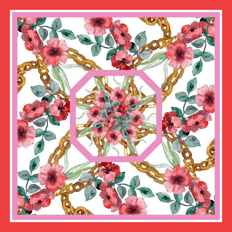 Copies de luxe de mode avec le mod?le de wildflowers Ensemble d'illustration de fond d'aquarelle illustration de vecteur