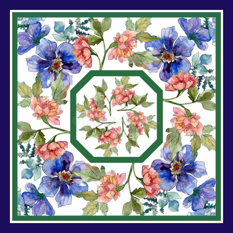 Copies de luxe de mode avec le mod?le de wildflowers Ensemble d'illustration de fond d'aquarelle illustration libre de droits