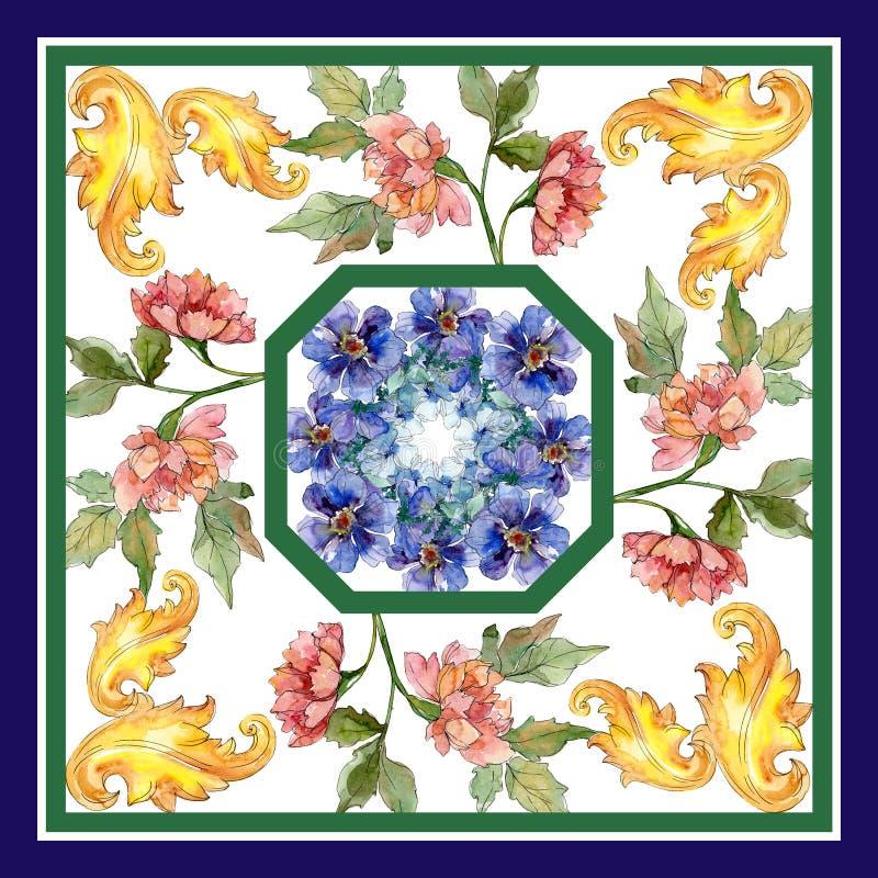 Copies de luxe de mode avec le mod?le de wildflowers Ensemble d'illustration de fond d'aquarelle illustration stock