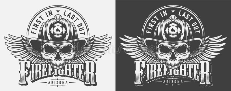 Copies de monochrome de pompier de vintage illustration libre de droits
