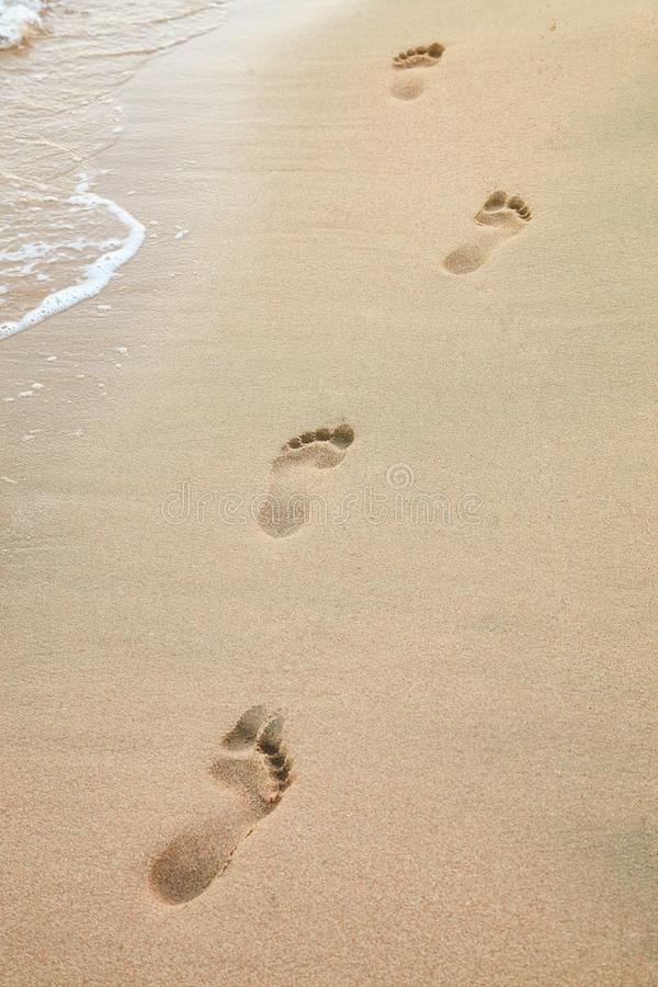 Copies de pied sur la plage d'un bord de la mer près de la mer photos libres de droits