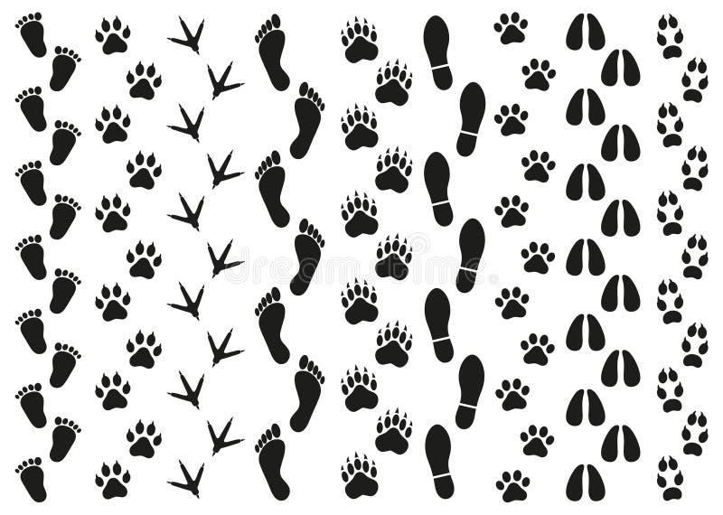 Copies des traces des personnes et des animaux sur un fond blanc illustration de vecteur