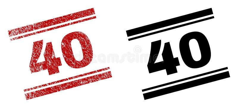 40 copies texturisées et propres grunges de timbre illustration libre de droits